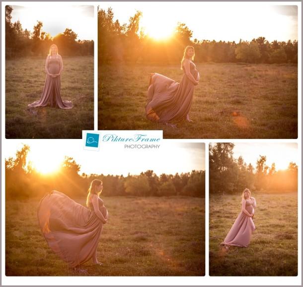 Zwangerschapsreportage bij zonsondergang | Vlagtwedde