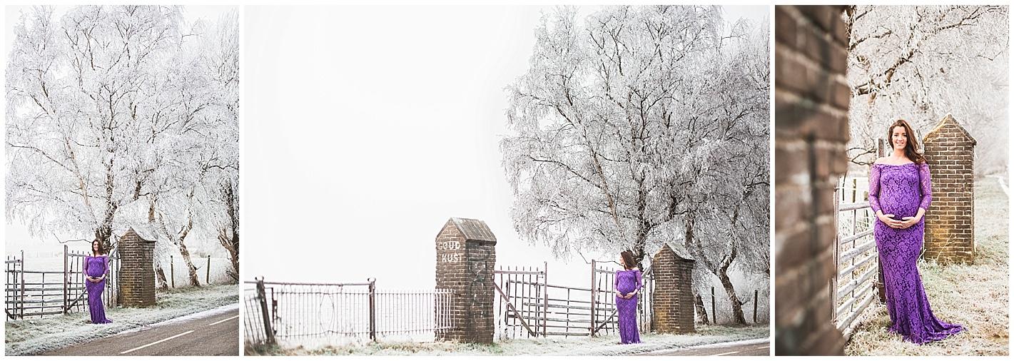 Zwangerschapsreportage in de sneeuw